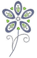 Swirly Purple Flower embroidery design