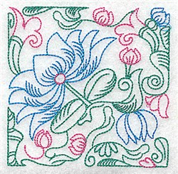 Tropical Flower Outline embroidery design