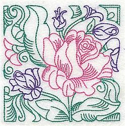 Rose Vine Outline embroidery design
