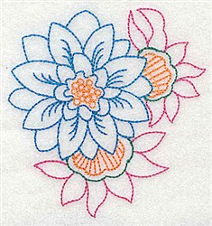 Dahlia Outline embroidery design