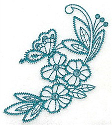 Flowers With Butterfly embroidery design