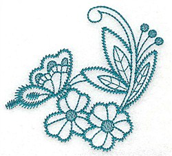 Flowers and Butterfly embroidery design