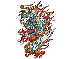 CHINESE TIGER FLAMES embroidery design