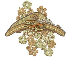 Tropical Car and Flowers embroidery design
