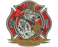 Fire Fighter Dalmatian embroidery design