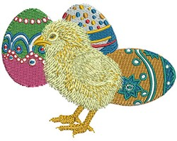 Chick and Eggs embroidery design