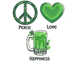Peace Love Happiness embroidery design