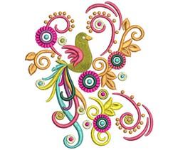 Swirl Bird embroidery design