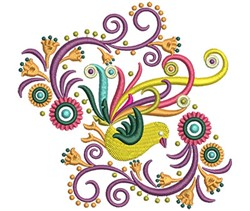 Fancy Bird Swirls embroidery design