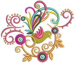 Colorful Bird Swirls embroidery design