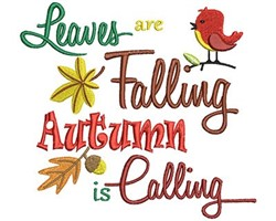 Leaves Are Falling Autumn embroidery design