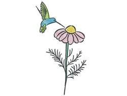 Hummingbird Daisy embroidery design