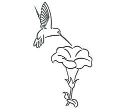 Hummingbird Blossom Outline embroidery design