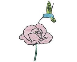 Humminbird Rose embroidery design