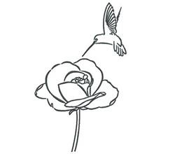 Hummingbird Rose Outline embroidery design