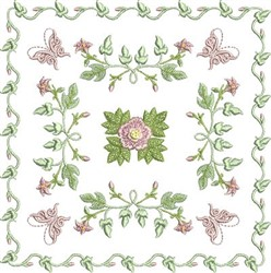 Rose and Butterfly Block embroidery design
