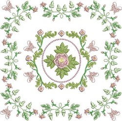 Rose & Butterfly Block embroidery design