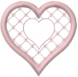 Cross Hatch Quilted Heart embroidery design