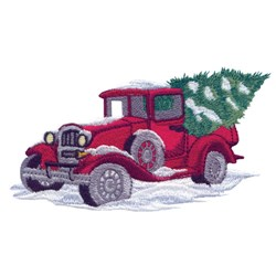 Truck And Tree embroidery design