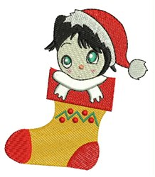 Stocking Girl embroidery design