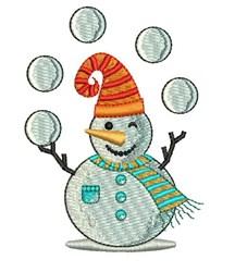 Snowman Juggler embroidery design
