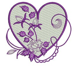 Rose Bud Heart embroidery design