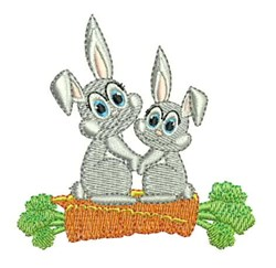 Rabbits & Carrots embroidery design