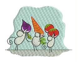Vegetable Mice embroidery design