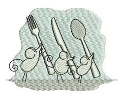 Cutlery Mice embroidery design