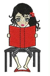 Girl Reading embroidery design