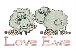 Love Ewe embroidery design