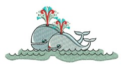 Whale Couple embroidery design