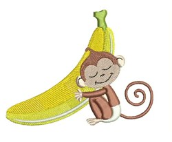 Monkey & Banana embroidery design