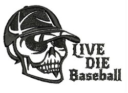 Live Die Baseball embroidery design