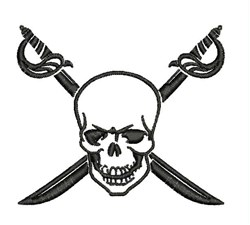 Skull & Swords embroidery design