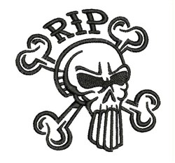 RIP Crossbones embroidery design