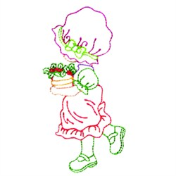 Girl With Flowers embroidery design