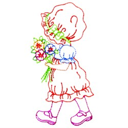 Girl Carrying Flowers embroidery design
