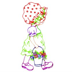 Girl And Pail embroidery design