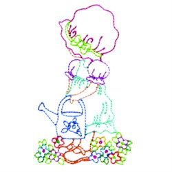 Girl With Watering Can embroidery design