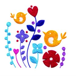Birds In Flowers embroidery design