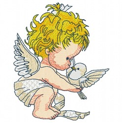 Baby Angel Bird embroidery design