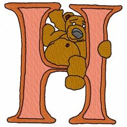 Bear Alphabet H embroidery design