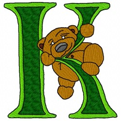 Bear Alphabet K embroidery design