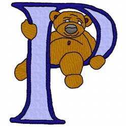 Bear Alphabet P embroidery design