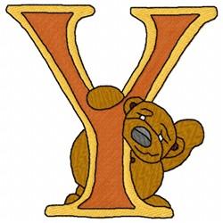 Bear Alphabet Y embroidery design
