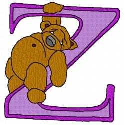 Bear Alphabet Z embroidery design