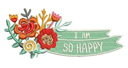 I Am So Happy embroidery design