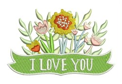 I Love You Flowers embroidery design
