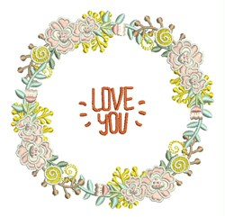 Love You Wreath embroidery design